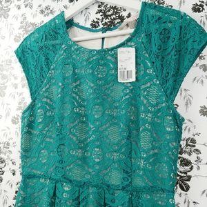F21 teal lace cap sleeve lined dress sz M